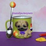 Авторская детская кружка с полимерной глиной Мопс малыш.Кружка с Мопсиком.кружка с собакой.3д портре
