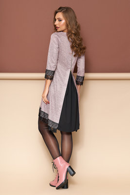 Модное асимметричное платье-трапеция с кружевной отделкой 44-52р  490 грн -  повседневные платья в Ровно 3201a4b704142