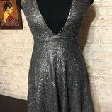 Платье в коричнево-серые пайетки Boohoo