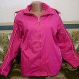 Суперская куртка женская ветровка малиновая двусторонняя с капюшоном. ткань плащевка и флис