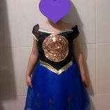 Карнавальное платье Принцессы Анна Холодное Сердце на 4-6 лет