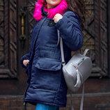 Женская зимняя куртка-парка 5-601 Парка Эмблема Цветной Мех в расцветках.