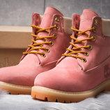 Зимние ботинки на меху Timberland 6 Premium Boot, розовые 30663