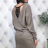 Теплое платье ткань ангора арктика с кружевом скл.1 арт.47833