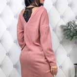 Теплое платье ткань ангора арктика с кружевом скл.1 арт.47831