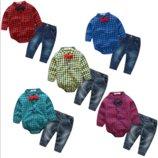 Нарядный комплект джинсы и боди-рубашка с бабочкой син,крас,зел,желт 320123,320122,320161,320121