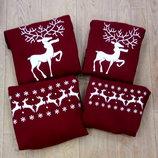 свитшот с оленями с орнаментом новогодний с оленем цвета