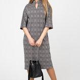 Платье в трендовую клетку Нинель клетка т.серый коричневый