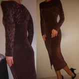 Платье облегающее шоколадное 10 38 р.