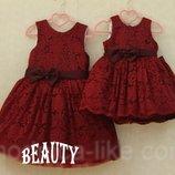 Family look нарядные платья гипюр мама дочка