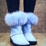 Теплые ботиночки с мехом кролика.