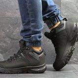 Ecco Biom ботинки мужские зимние черные с красным 6835