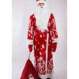 Костюм Деда Мороза со снежинками взрослый