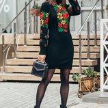 Теплое вязаное платье-вышиванка Рябина, в расцветках
