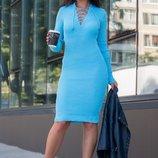 Теплое вязаное платье Рианна, в расцветках. 44-48рр