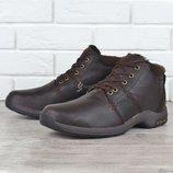 Ботинки кожаные зимние Columbia style мужские натуральный мех темно-коричневые на шнуровке