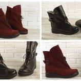 Эксклюзив, теплые зимние ботинки замша и кожа Цвет на выбор Т