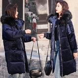 Женский удлиненный зимний бархатный пуховик, парка, куртка темно-синий