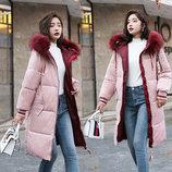 Женский удлиненный зимний бархатный пуховик, парка, куртка розовый пудра