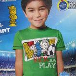 Футболка мальчику на 4 - 6 лет. рост 110 - 116 см Lupilu stikeez - германия зеленая хлопок