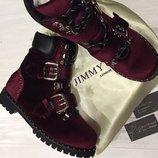 Мега крутые бархатные ботинки Jimmy Choo, демисезонные ботинки.