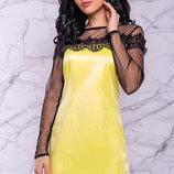 Яркое нарядное атласное платье 44-50р