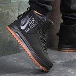 Топ качество. Бесплатная доставка. Кроссовки Nike Air Force черные Зима KS 748