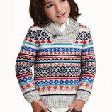 Теплый джемпер свитер в орнамент для мальчика от h&m
