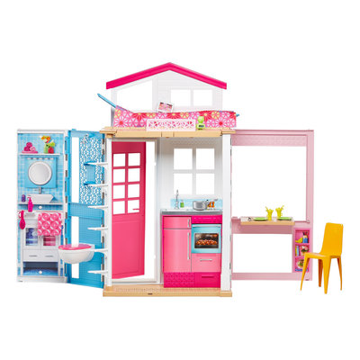 Barbie Гламурный портативный домик Барби без куклы дом 2-Story House DVV47 Close-and-Go Portable Pla