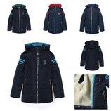 Демисезонная-Зимняя куртка для мальчика Адмирал, подстежка овчина, р.128-146