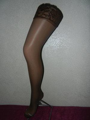 0ff03b24c2d8 Капроновые коричневые чулки, шоколадного цвета, на широкой резинке с  силиконом