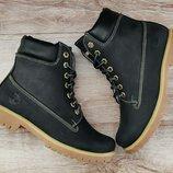4 цвета. Женские зимние теплые ботинки Timberland Black Крейзи кожа