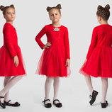 Детское нарядное пышное платье 2-148 Жаккард Сетка Брошь в расцветках.