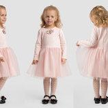 Детское нарядное пышное платье 2-148 Жаккард Сетка Брошь в расцветках