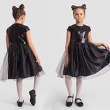 Детское нарядное пышное платье 2-142 Пайетка Атлас Сетка