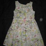 4-5 лет, нежное летнее платье сарафан, бабочки, цветы
