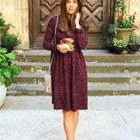 Стильное винтажное платье Ангора Soft меланж теплое комфортное миди-платье от р40 по р46 много цвето