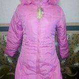 пальто подростковое на девочку с капюшоном с двумя карманами на синтепоне