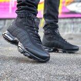 Как Оригинал. Бесплатная доставка. Зимние Кроссовки Nike Air Max 95 Sneakerboot черные Зима KS 750
