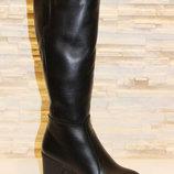 Сапоги женские зимние черные на каблуке натуральная кожа С616