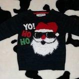 Новогодний свитер Дед Мороз, Санта Клаус, Rebel, 2-3 г, 98, праздничный
