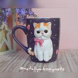Чашка с котом Снупи.кружка с декором полимерной глиной Кот Снупи.чашка с экзотом.