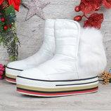 Дутики женские ботинки на платформе с натуральной опушкой Ecstasy 2 цвета