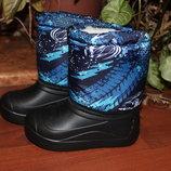 Сноубутсы, зимние ботинки на меху с калошей ЭВА р.28-35
