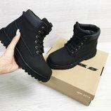 Timberland ботинки женские зимние черные с серым 6874