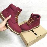 Timberland ботинки женские зимние бордовые 6875
