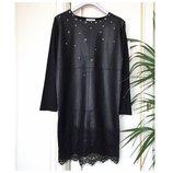 Платье джерси с эко-кожей и кружевом Италия S/М/L эксклюзивно нарядно