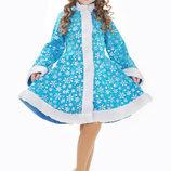 Детский карнавальный костюм для девочки Снегурочка со снежинками 98-152р