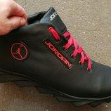 2018 -2019 мужские кроссовки в стиле Jordan зима черные с красным кожа обувь кросовки спорт