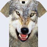 Мужская футболка 3D Волчий оскал Большой выбор